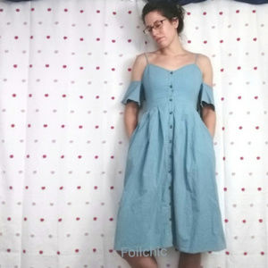 Lulu's Dress Off the Shoulder Pockets Button Front